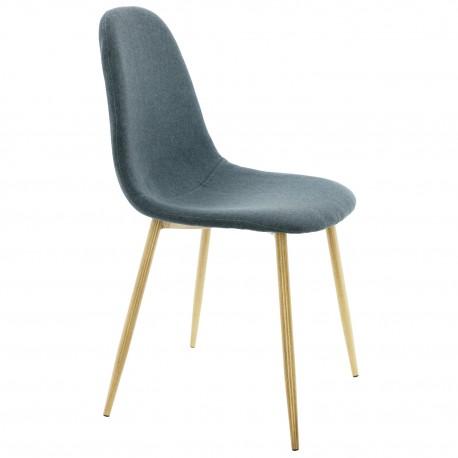 Silla Tapizada Azul con patas de Madera Sillas modernas de diseño