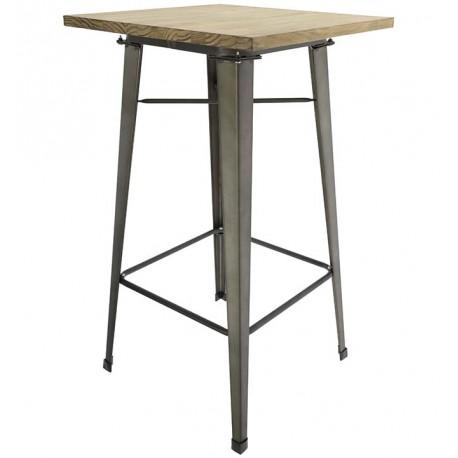 Mesa de comedor alta tolix con tablero de madera y patas metálicas Mesas de comedor de diseño