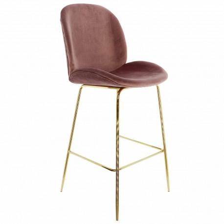 Taburete de terciopelo mush rosa con patas doradas Taburetes de diseño