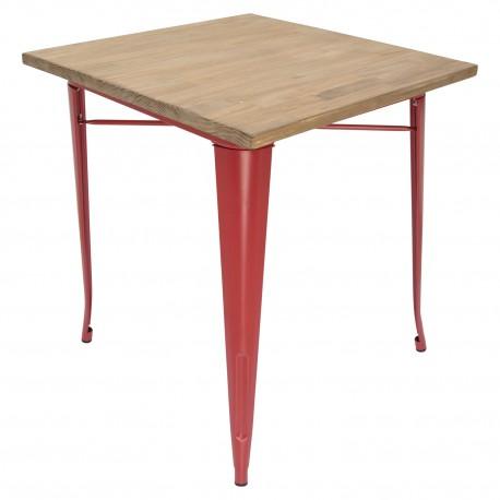 Mesa de comedor con tablero de madera y patas rojas Mesas de comedor de diseño