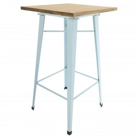 Mesa tolix alta patas celestes y tapa de madera Mesas de comedor de diseño 99,99 €
