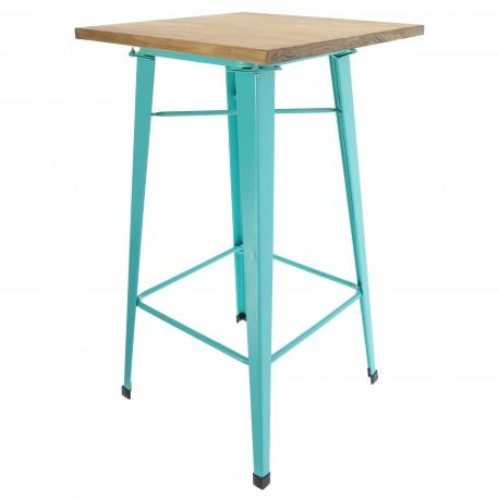Mesa de comedor alta bistro con tablero de madera y patas azul turquesa Mesas de comedor de diseño
