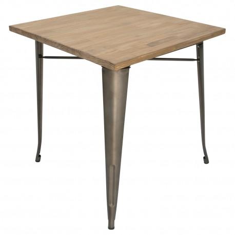Mesa de comedor tolix patas bronce y tapa de madera Mesas de comedor de diseño