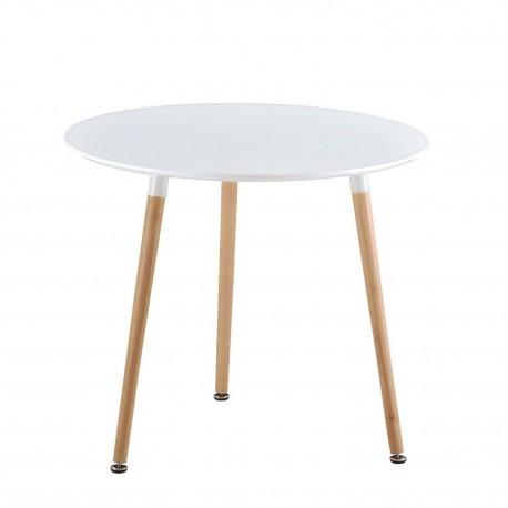 Mesa de comedor nordica blanca - patas de madera IMS Mesas de comedor de diseño