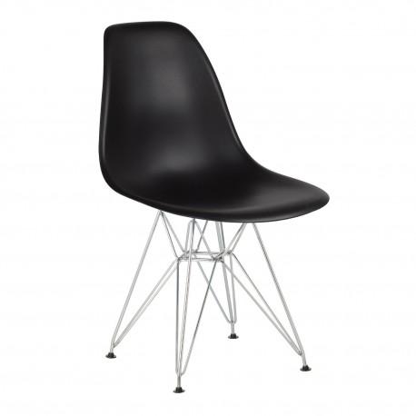 Pack 4 sillas negro IMS modelo eiffel patas cromadas Sillas modernas de diseño