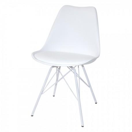 Pack de 2 sillas Nori blancas\n\ncon patas de metal en blanco Sillas modernas de diseño 69,99 €