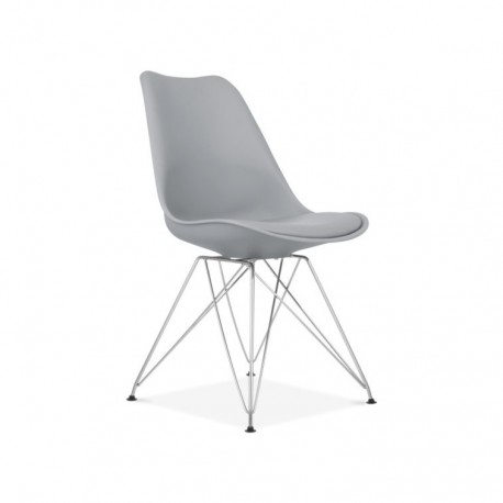Pack de 2 sillas Paris gris oscuro de plastico patas de metal Sillas modernas de diseño 69,99 €