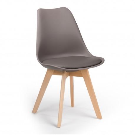 Pack de 4 sillas Gris oscuro con patas de madera Kandem cross Sillas modernas de diseño 99,99 €