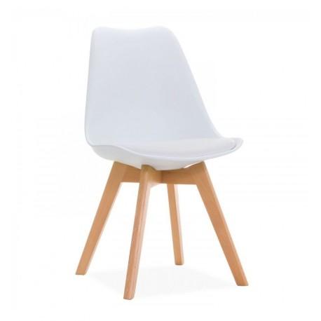 Pack de 4 sillas kandem blancas con patas de madera Sillas modernas de diseño
