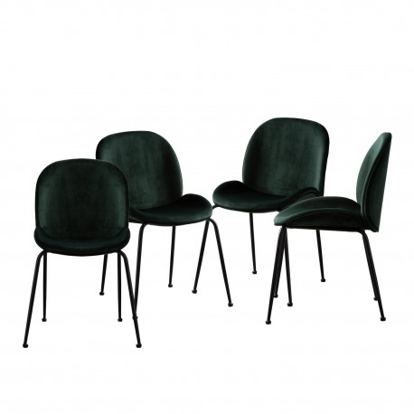 Pack de 4 sillas mush verde patas negras Sillas modernas de diseño