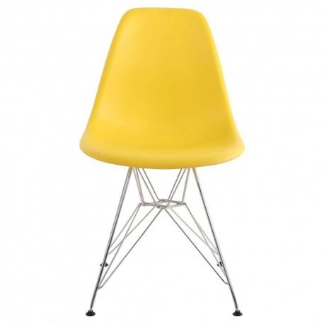 Pack 4 sillas amarillo tower modelo patas cromadas Sillas modernas de diseño