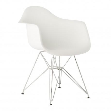 Pack de 4 sillas de plastico con patas cromadas color blanco Sillas modernas de diseño
