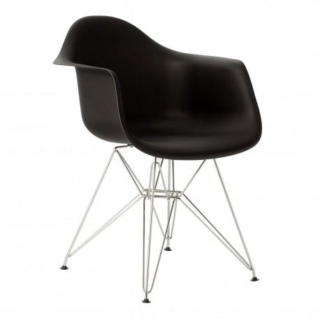 Pack de 4 sillas de plastico con patas cromadas color negro Sillas modernas de diseño