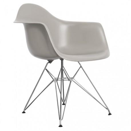 Pack de 4 sillas de plástico gris con patas cromadas color gris Sillas modernas de diseño