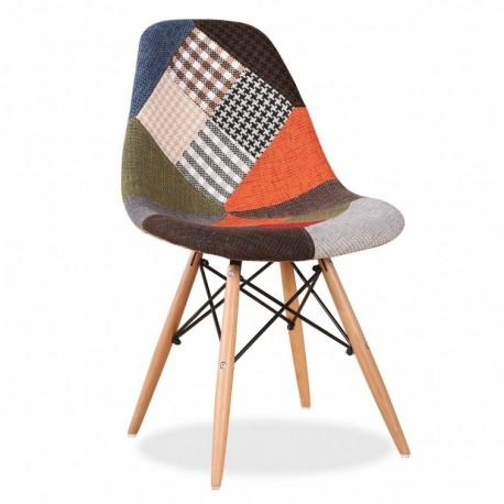Pack de 2 sillas pachtwork con patas madera