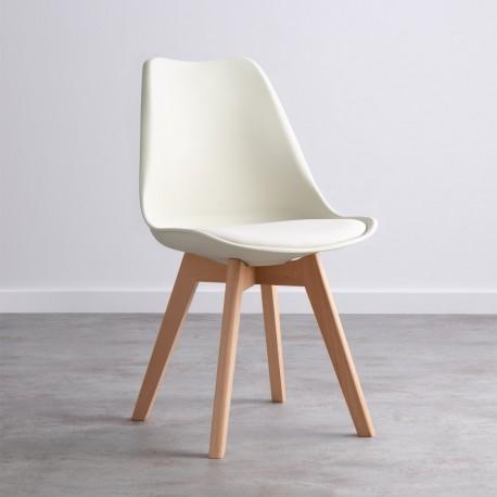 Pack de 2 sillas kandem beige con patas de madera Sillas modernas de diseño