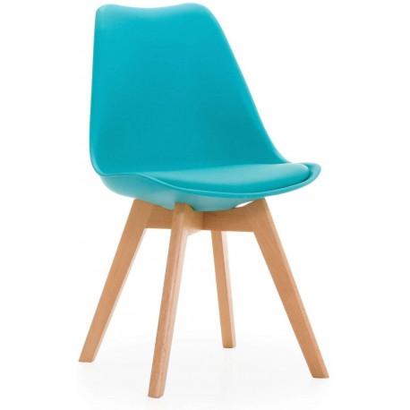 silla madera turquesa
