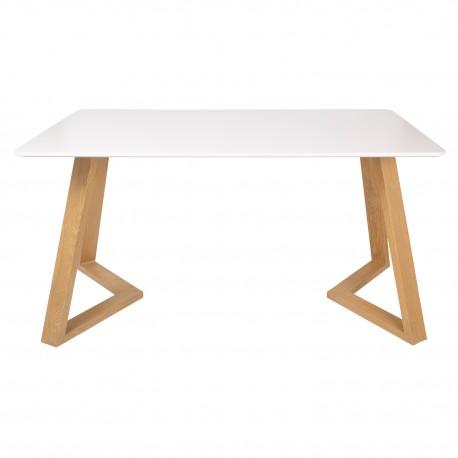 Mesa de comedor Janu con tablero blanco y patas de madera Mesas de comedor de diseño