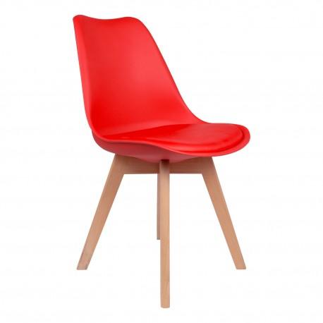 Pack de 4 sillas rojas con patas de madera Kandem cross Sillas modernas de diseño
