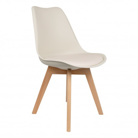 silla beige con patas de madera Kandem cross Sillas modernas de diseño