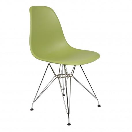 Pack 4 sillas verde oliva IMS modelo eiffel patas cromadas Sillas modernas de diseño