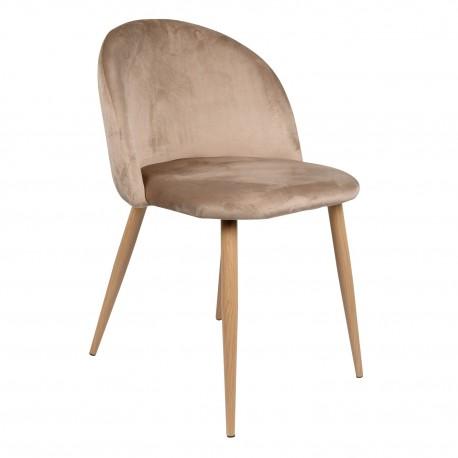 Pack de 4 sillas de terciopelo piaf marron camel Sillas de terciopelo