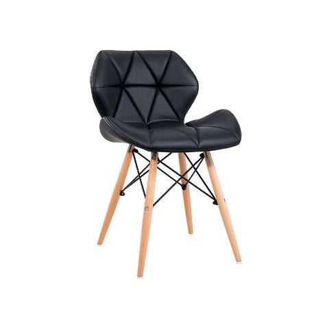 Pack de 2 Sillas Kada Negras con patas de madera Sillas modernas de diseño