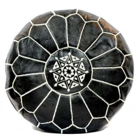 Puff de cuero Marroqui / Negro y blanco PUFF ECLECTICOS