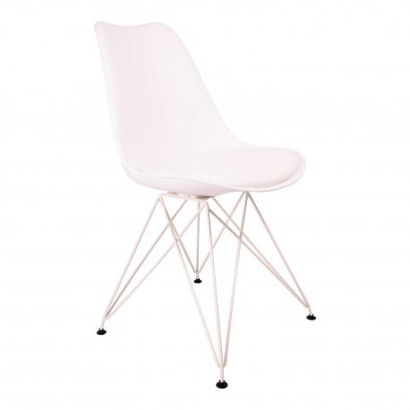 Pack de 2 sillas Eiffel blancas con patas de metal Sillas modernas de diseño
