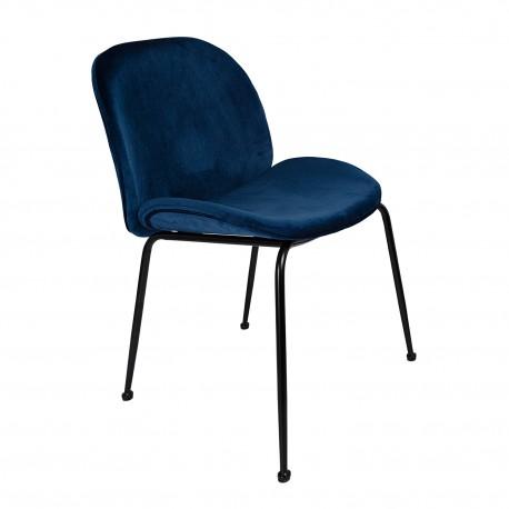 Pack de 2 Sillas terciopelo mush azules con patas negras Sillas modernas de diseño