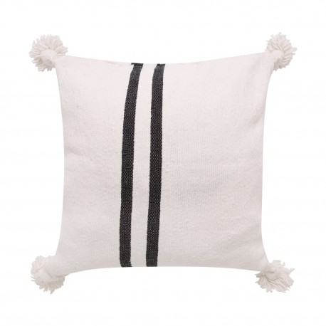 Cojín Pompón Belgica blanco con rayas negras COJINES