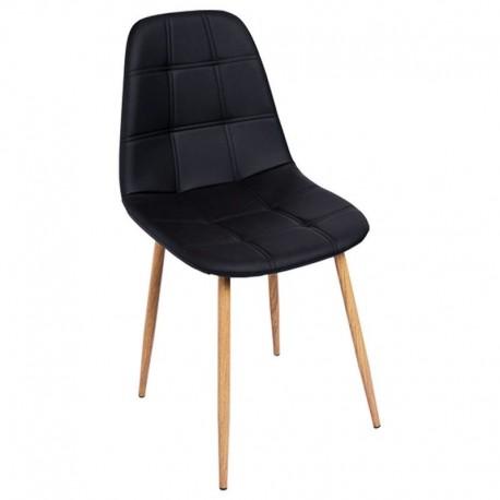 Silla Polipiel negra con patas de madera Sillas de madera