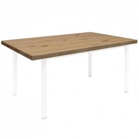 Mesa de comedor Lua con tablero de madera oscura y patas blancas Mesas de comedor de diseño