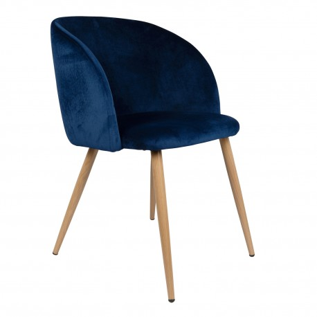 Sillón de Terciopelo Azul Vintage Piaf Sillones de Terciopelo