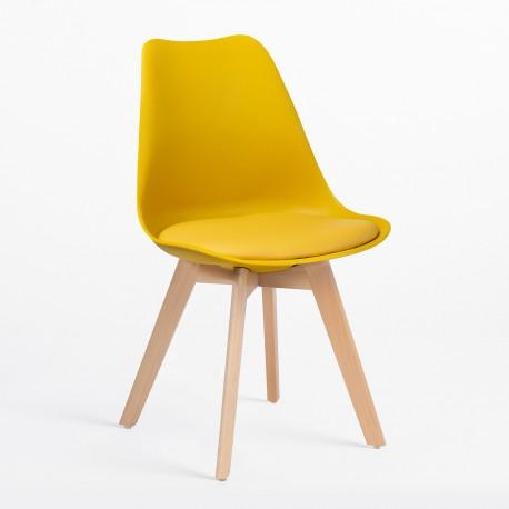 Pack de 4 Silla kandem mostaza patas de madera Sillas modernas de diseño
