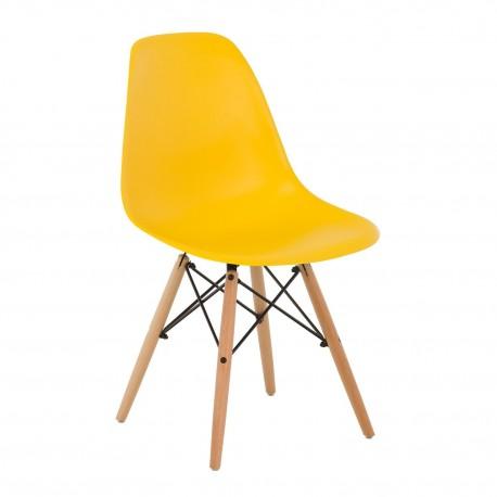 Silla Tower Amarilla con patas de madera Sillas modernas de diseño