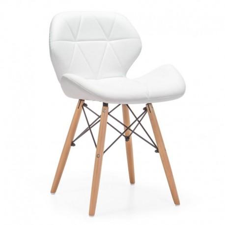 Pack de 4 Silla Kada blanca patas de madera Sillas modernas de diseño