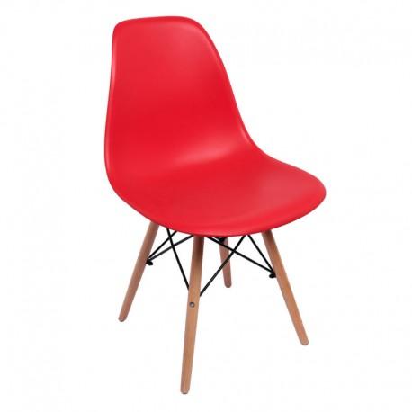 Silla Tower Roja con patas de madera Sillas modernas de diseño