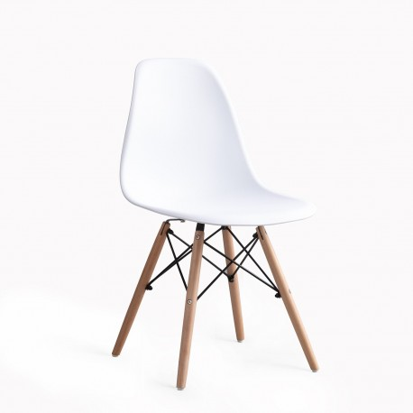 Pack 4 Silla tower blanca patas de madera Sillas modernas de diseño