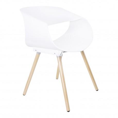 Silla de Diseño Quintín Blanca con Patas de Madera Sillas modernas de diseño