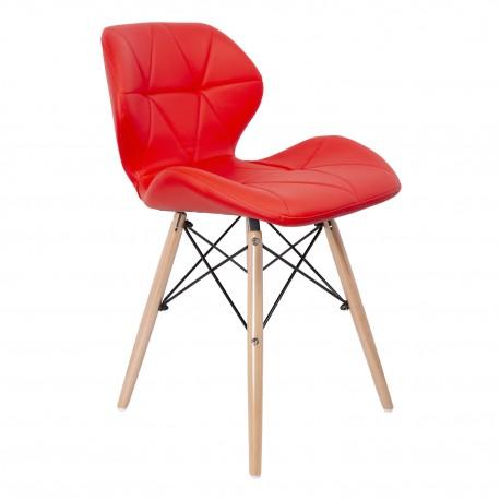 Silla Kada Roja con patas De Madera Sillas modernas de diseño