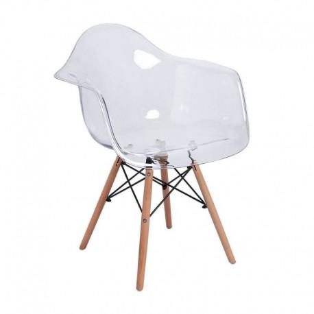 Sillon transparente Charlie con patas de madera Sillas modernas de diseño