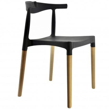 Silla Bow Negra con patas de madera Sillas modernas de diseño