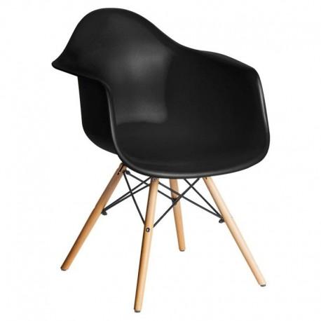 Sillón negro patas madera Sillas modernas de diseño