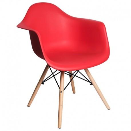 Sillón rojo patas madera Sillas modernas de diseño