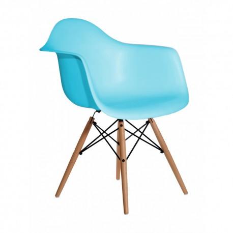 Sillón celeste patas madera Sillas modernas de diseño