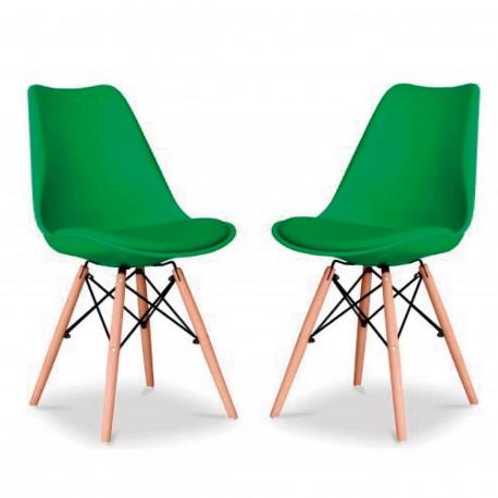 Pack de 2 Sillas Kandem Paris verdes con patas de madera Sillas modernas de diseño