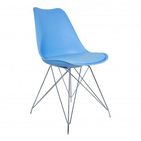 Silla Paris Azul con patas metal Sillas modernas de diseño