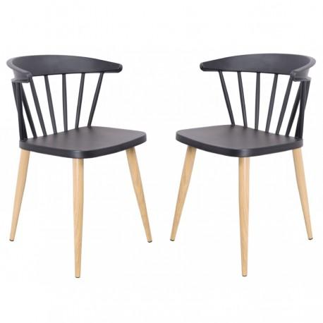 Pack de 2 Sillas Casis negras con patas de madera Sillas modernas de diseño