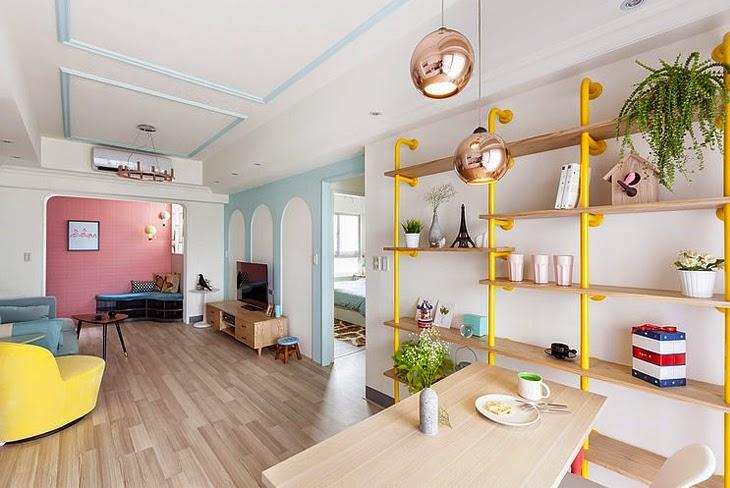 Decoraci n a todo color jugando con los tonos pastel for Appartement original